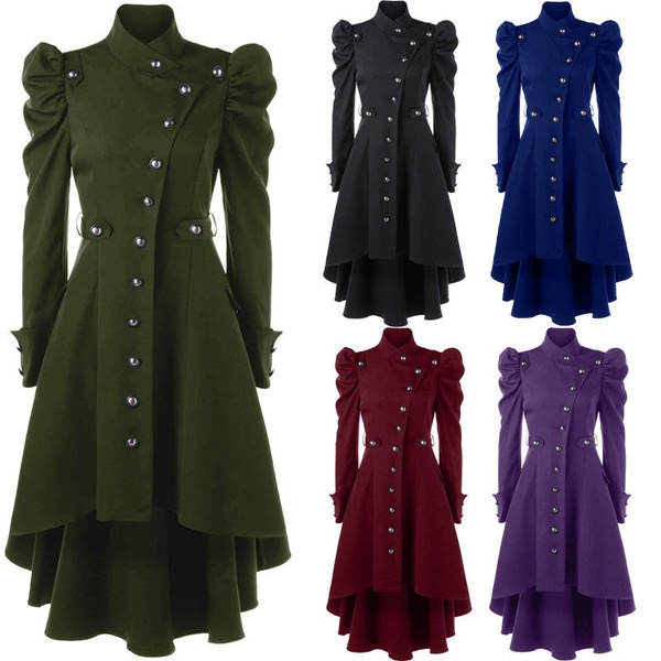 Winter Women Stand Up Collar New High Waist Outerwear Shoulder Button Up Dip Gothic Vintage Steampunk Trench Coat Jacket