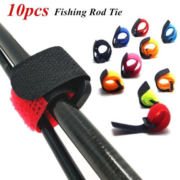 10pcs Reusable Fishing Rod Tie Holder Strap Fastener Ties Fishing Accessories