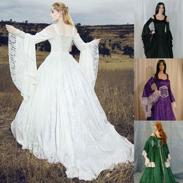 Renaissance Wedding Dress.Handfasting Medieval Wedding Dress Lotr Renaissance Fantasy Gown Solid Batwing Sleeve Elegant Medieval Dress