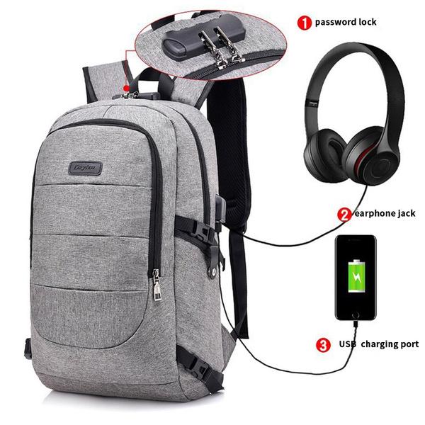 Anti theft Men Backpack Laptop School Travel Bag USB Charging Port Customs Lock