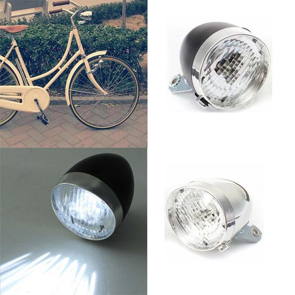 abbd32e3a6a Retro Bicycle Bike 3 LED Front Light Headlight Vintage Flashlight ...