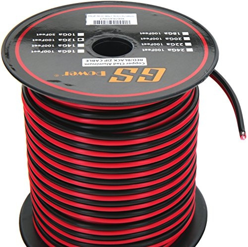 gs power's 12 ga gauge 100 feet cca copper clad aluminum red / black 2  conductor bonded zip cord power / speaker cable for car audio, home theater,