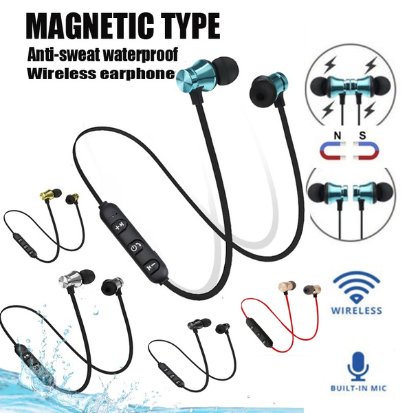Magnet Wireless Sports Yoga gym bass tws mic bluetooth earphones Headset  Bluetooth Headphones For iPhone Samsung s9 LG iphone x iphone 8 plus iphone  7