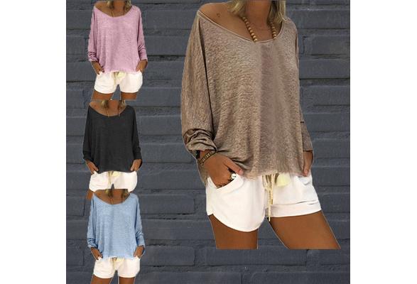 Fashion Women Boho Style Cotton Blouses Round Neck Long Sleeve Loose Casual Tops Plus Size