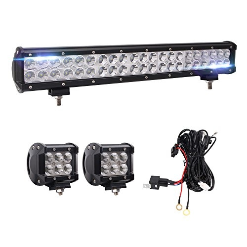 Bangbangche 20'' 126W Flood Spot Combo LED Light Bar, 10FT Fuse Relay on boat glove box door, boat led rings, boat accessories, boat power panel, boat gasket, boat generator, boat transmission, boat hood scoop, boat electrical, boat master switch, boat oil tank, boat wire covering, boat starter, boat in dash gps, boat handle bar, boat cargo carrier, boat mounting plate, boat steering assembly, boat name plate, boat axles,