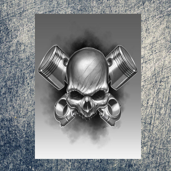 Wish   Piston Skull Tattoo Shop Garage Vintage Retro Tin Sign Metal ...