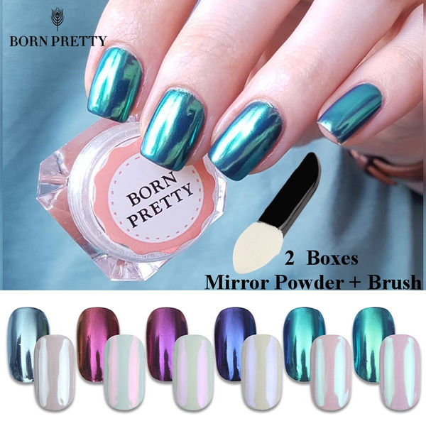 Wish | 2 Boxes BORN PRETTY Mirror Powder Chrome Effect Pigment Nails New Rose Gold Silver Nail Art Powder