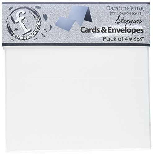 Ruby Rock-It FSC53 Fundamentals Stepper Square Cards and Envelopes, 6 by  6-Inch, Accordion White, 4-Pack