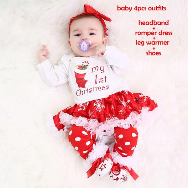 Headband Baby Girl First Christmas Tutu Dress Outfit My 1st Christmas Romper Leg Warmers