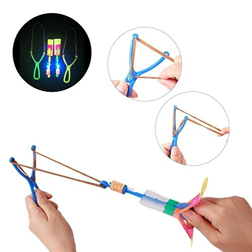 BTToyy 36 Pcs Led Light Arrow Rocket Copters Slingshot Arrows Party Favor For Kids Random Color Amazing Helicopter Flying Toy