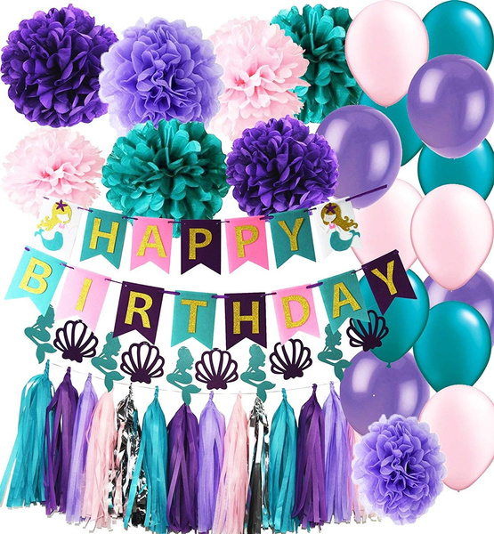 Mermaid Party Supplies Mermaid Teal Purple Pink Latex Ballons Tissue Pom Pom Teal Purple Happy Birthday Banner With Glitter Gold Letters Tassel