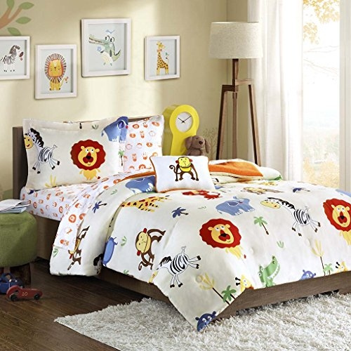 Mi-Zone Kids Safari Sam Full Kids Bedding Sets For Boys - White, Lion  Monkey 8 Pieces Boy Comforter Set Ultra Soft Microfiber Kid Childrens  Bedroom ...