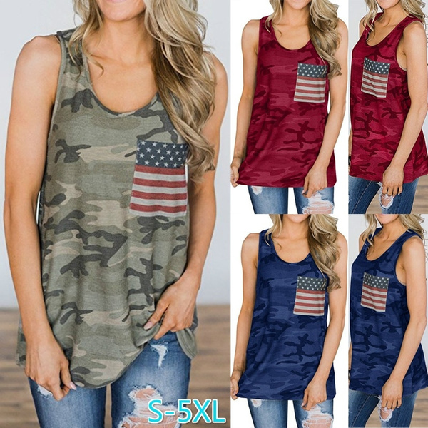 Summer, Tank, Shirt, american flag tank top