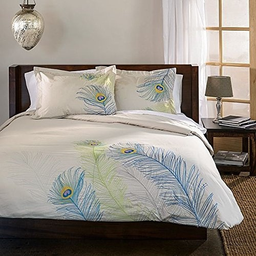 Mn 3 Piece Blue Green Large Embroidered Pea Feather Theme Duvet Cover Full Queen Set Beautiful Eye Catching Exotic Nature Wild Bird Motif