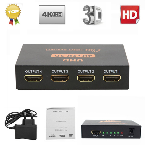 Ultra HD 4K 2 Port HDMI Splitter 1x4 Repeater Amplifier 1080P 3D Hub 1 In 4 Out