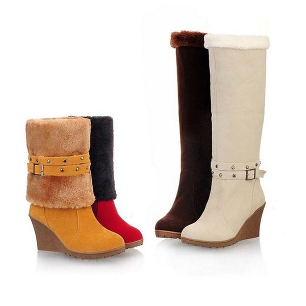 Wish   Hiver Chaud Mode lacer Bottines Bottes Femme Chaussures Talon Haut  EU 36-39 5647f176a18d