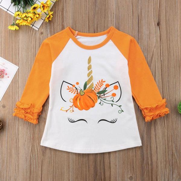 Baby Unicorn Cotton Girl Toddler Long Sleeve Ruffle Shirt Top Sunflower