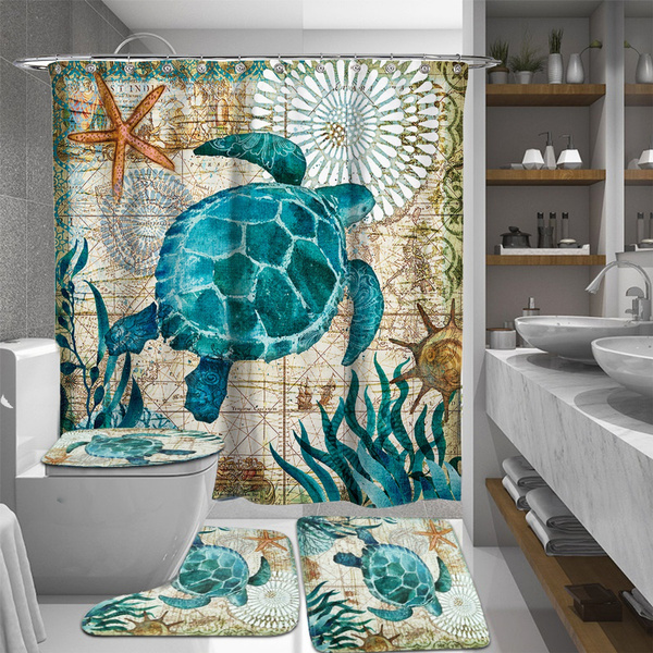 Sea Turtles Waterproof Bathroom Shower Curtain Toilet Cover Mat Non
