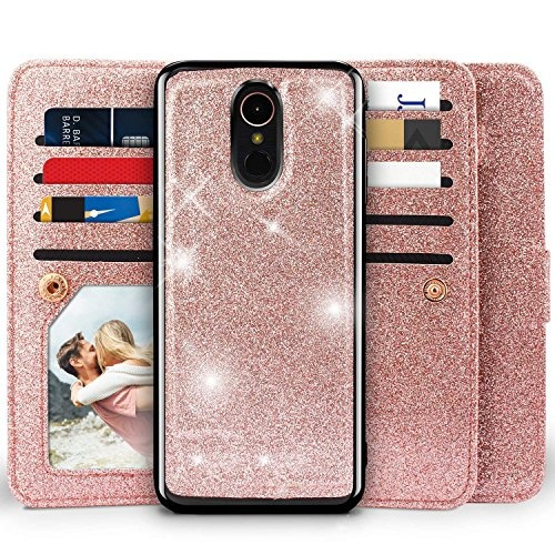 LG Stylo 4 Case, LG Stylo 4 Plus Case, LG Q Stylus 4 Glitter Case, Miss  Arts [Detachable] Magnetic Glitter Wallet Case With Car Mount Holder, 9  Card