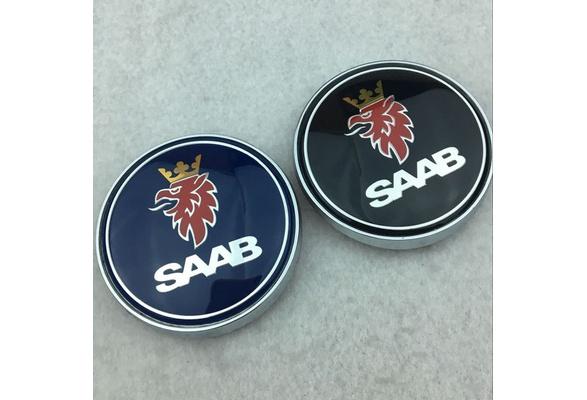 SAAB 93 95 HOOD EMBLEM 9-3 9-5 BLACK//CHROME FRONT ROUND BADGE sign symbol logo