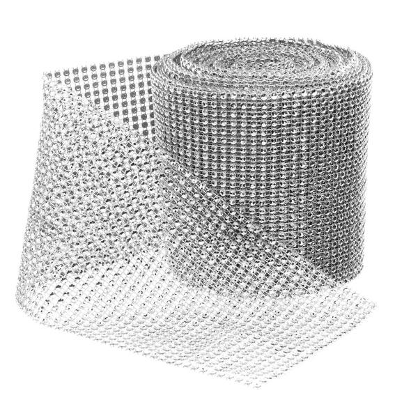 Decora 30ft 24 Rows Silver Diamond Rhinestone Ribbon DIY Bling for Birthday//Bridal Shower//Wedding Cake Vase Decorations Party Supplies