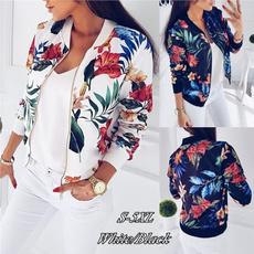 casual coat, Jacket, Floral print, zipperjacket