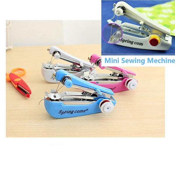 Sewing Machine Portable Needlework Cordless Mini Hand-Held Clothes Fabrics Sewing Machine Random