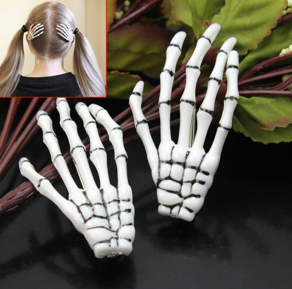 2pcs Halloween Zombie Punk Skull Skeleton Hand Hair Clip Hairpin Claw PartyDecor