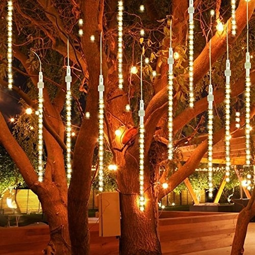wish led meteor shower christmas lights batteryusb powered 118in 8 tubes 144 led connectable snow fall icicle raindrop decor lights for holiday party
