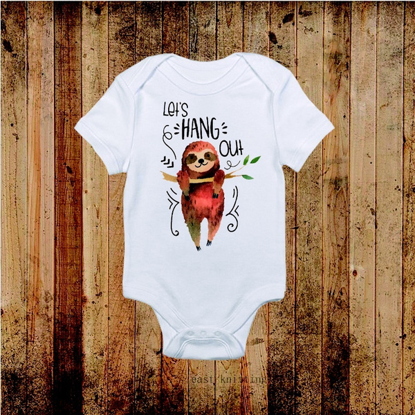 Funny Onesies Let S Hang Out Sloth Onesie Baby Shower Gift Baby