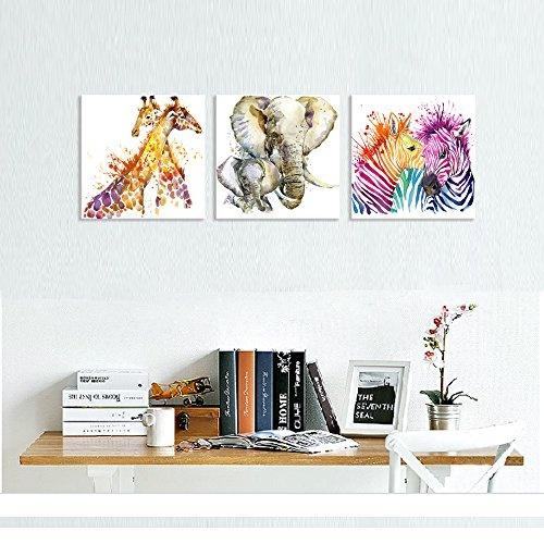 Visual Art Decor Abstract Animals Canvas Wall Art Zebra Giraffe Elephant Wall Decal Art Animals Watercolor Painting Prints Decor For Bedroom Living
