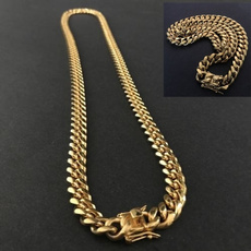 Steel, yellow gold, Chain Necklace, Fashion
