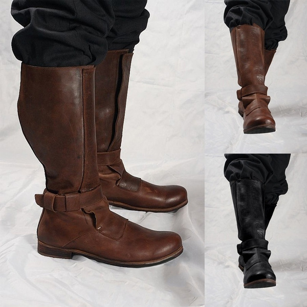 Men\u0027s Fashion Medieval Leather Boots Classic Punk Style Knee High Boots Men  Casual Solid Color Motorcycle Boot Flat Heel Snow Boots Tall Boots