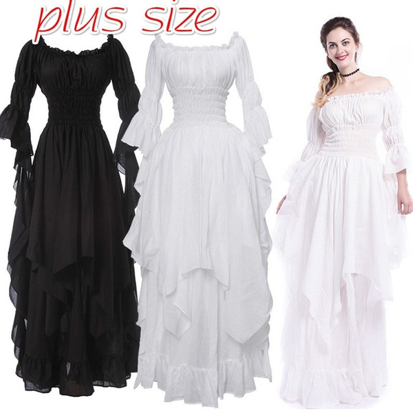 Plus Size Women Medieval Maxi Dresses Renaissance Chemise Dress ...