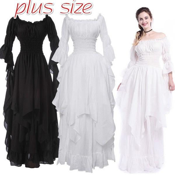 Plus Size Women Medieval Maxi Dresses Renaissance Chemise Dress ...