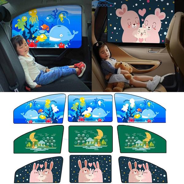 Car Sun Shade Magnetic Curtain Cartoon Children Window Sunshade Cover Universal