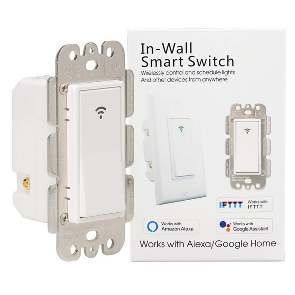 WiFi Smart Wall Light Switch Timing Function Suit for 1/2/3 Gang Switch Box  Works with Alexa Google Home,No Hub Required Neutral Wire Required