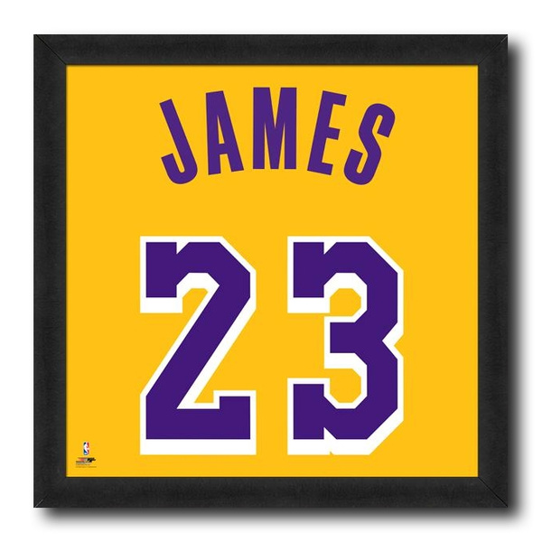purchase cheap 6a548 3d765 Lebron James Los Angeles Lakers Yellow Jersey NBA Licensed Framed Photo  Print