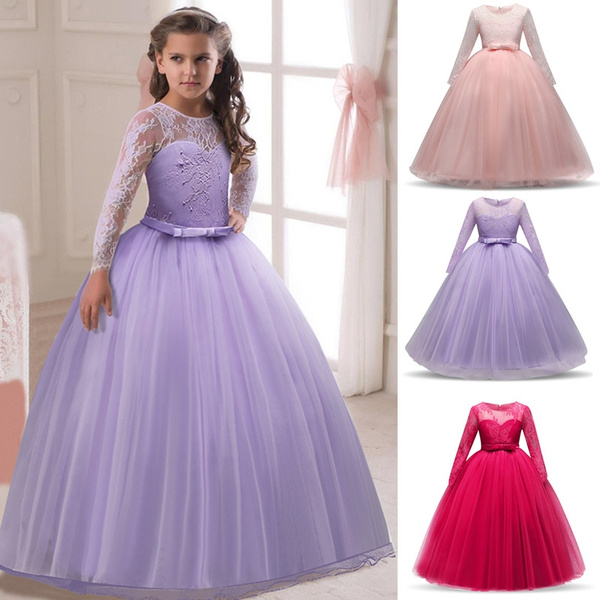 Girls Sexy Hollow Out Lace Dress Children Girls Long Sleeve Evening Gowns Prom Dress Birthday Party Dress For Girls Kids Girls Dresses