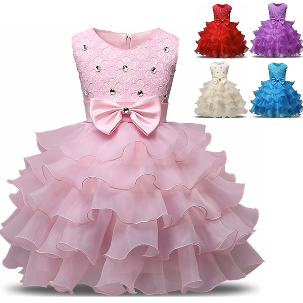 Baby Girls Pink Tutu Princess Dress Flower Girl Dress Wedding Birthday Party Dress For Kids Children Baby Baptism Christening Dress