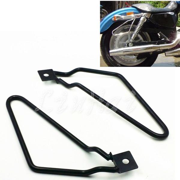Black Saddle Bag Support Bars Mount Bracket For Harley Sportster Iron  XL883N Dyna Fat Bob FXDF