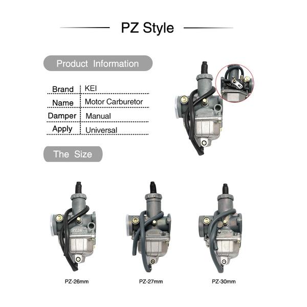ZSDTRP Motorcycle Pit Dirt Bike ATV Quad Carburetor PZ26 PZ27 PZ30 AUTO and  Manual Performance Carburetor
