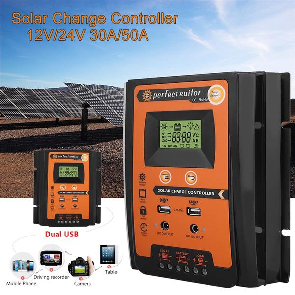 MPPT Solar Panel Regulator Battery Solar Charger Controller 12//24V With LCD USB//