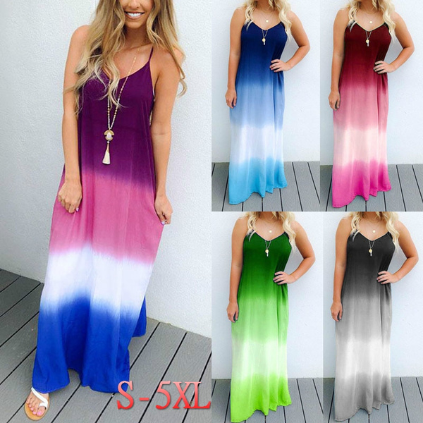 7481710775b Plus Size S-5XL Women Sexy Summer Gradient Color V Neck Sleeveless ...