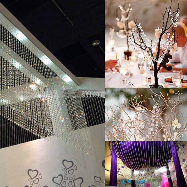 Geek | 1 Roll 33FT 10meters Diamond Strand Acrylic Crystal Bead Curtain Wedding DIY Party Craft Decor (Size:1 meters,10 meters)
