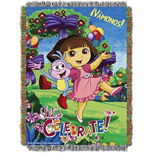 Incredible 1 Piece 48 X 60 Kids Blue Purple Dora The Explorer Theme Throw Blanket Ivamonos Floral Animal Print Birds Bow Ties Balloons Television Character Machost Co Dining Chair Design Ideas Machostcouk