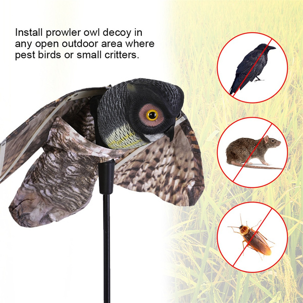 Garden Outdoor Fake Owl With 40/'/' Moving Wing Bird Proof Repellent Decoy Pests