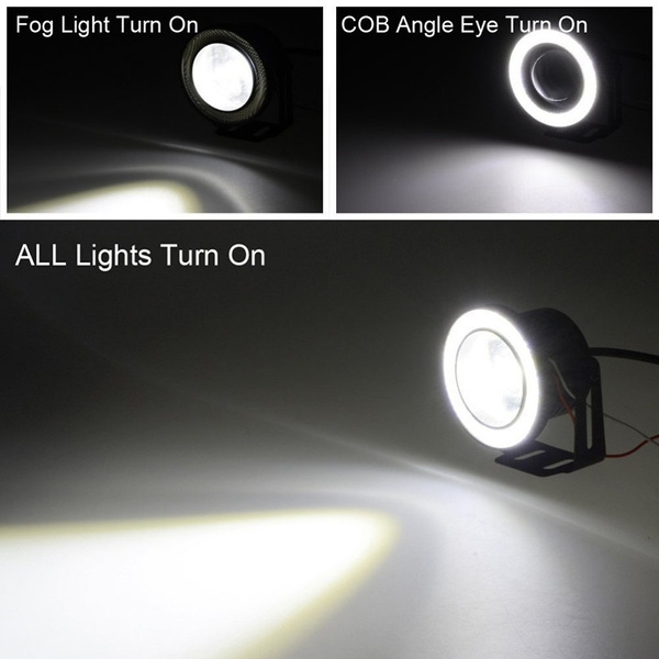2pcs 3 5inch White Waterproof Projector Led Fog Light With Lenshalo Angel Eyes Rings Cob 30w