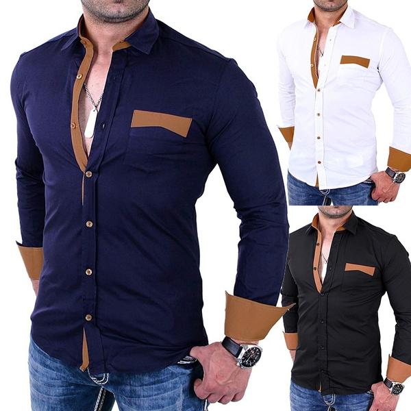 san francisco 435df 599ed Herren Hemd Slim Fit Bügelleicht Ideal Für Anzug, Business, Hochzeit    Freizeithemd Langarm Männer-Hemden