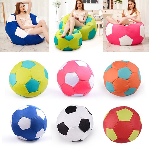 Football Shape Giant Lazy Chair Cover Waterproof Soccer Ball Style Bean Bag Case Sofa Couch Without Fillers